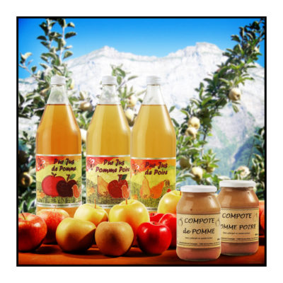 jus de pomme- compote - fruits-Pommes bio- locales- arboriculteur- ferme-magasin de producteurs - Gilly sur Isère / Albertville- savoie - terroir